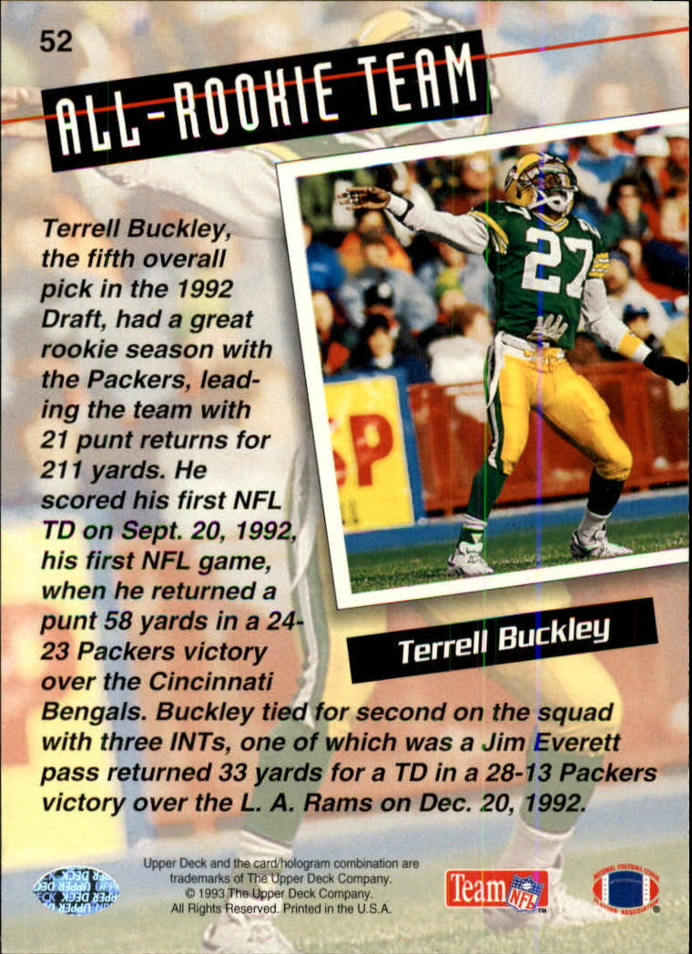 1993 Upper Deck #52 Terrell Buckley ART back image
