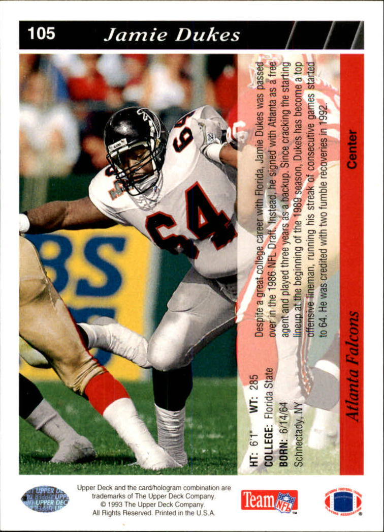 1993 Upper Deck #105 Jamie Dukes back image