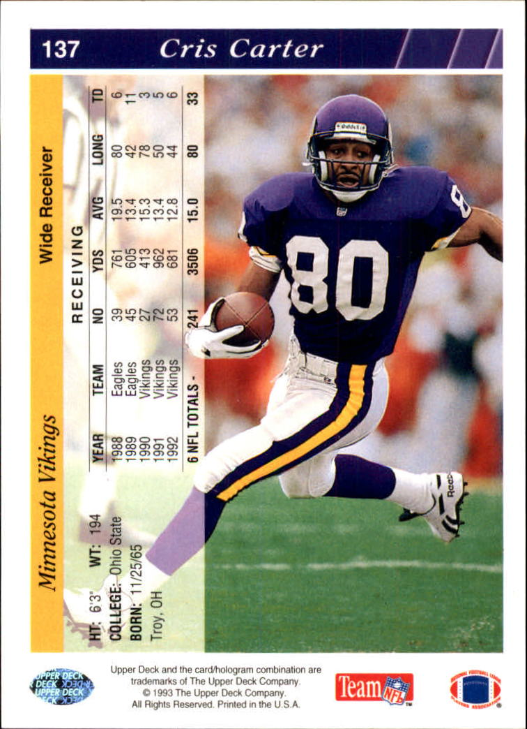 1993 Upper Deck #137 Cris Carter back image