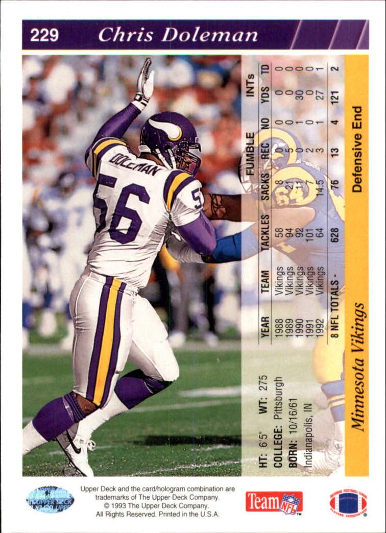 1993 Upper Deck #229 Chris Doleman back image