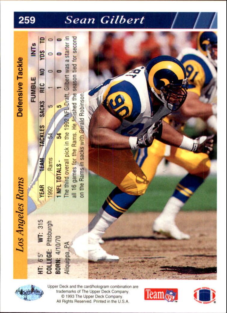 1993 Upper Deck #259 Sean Gilbert back image