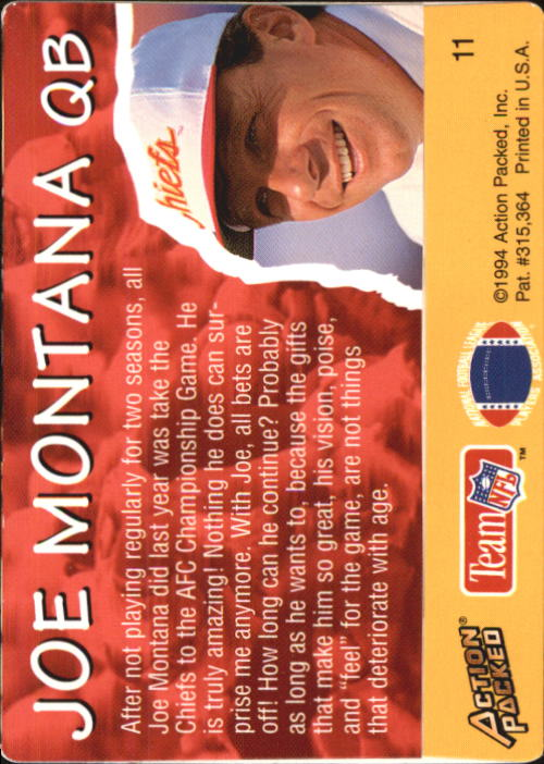 1994 Action Packed All-Madden #11 Joe Montana back image