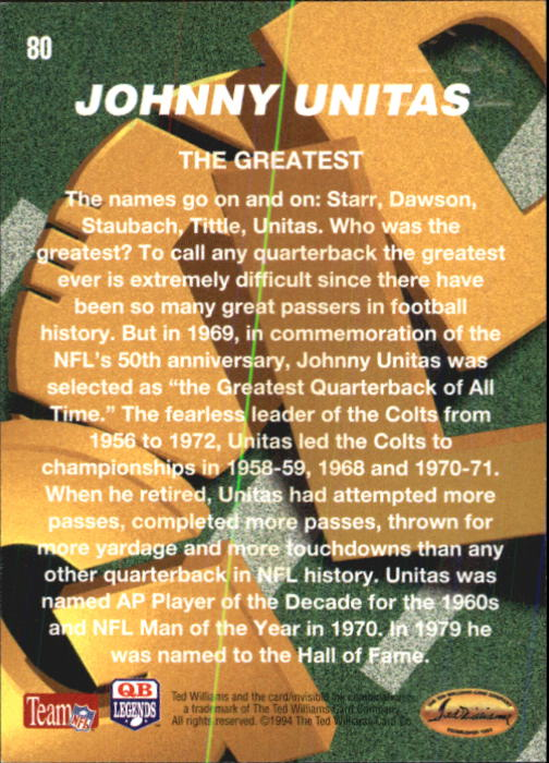 1994 Ted Williams #80 Johnny Unitas back image