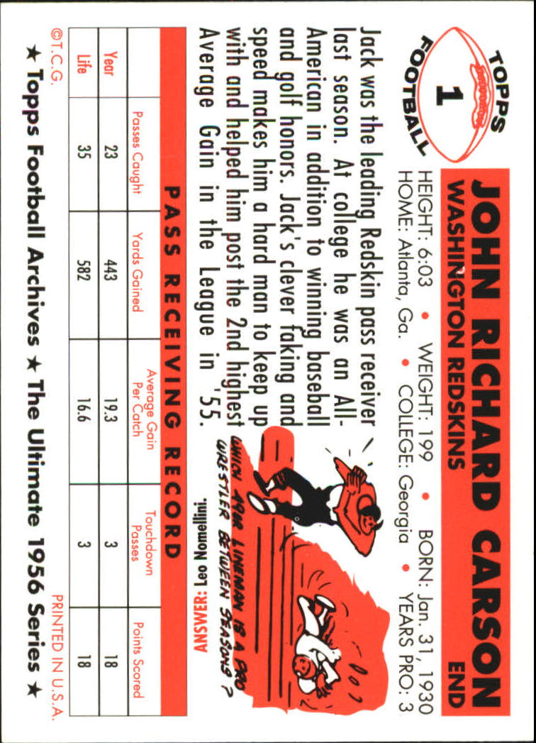 1994 Topps Archives 1956 #1 Johnny Carson back image