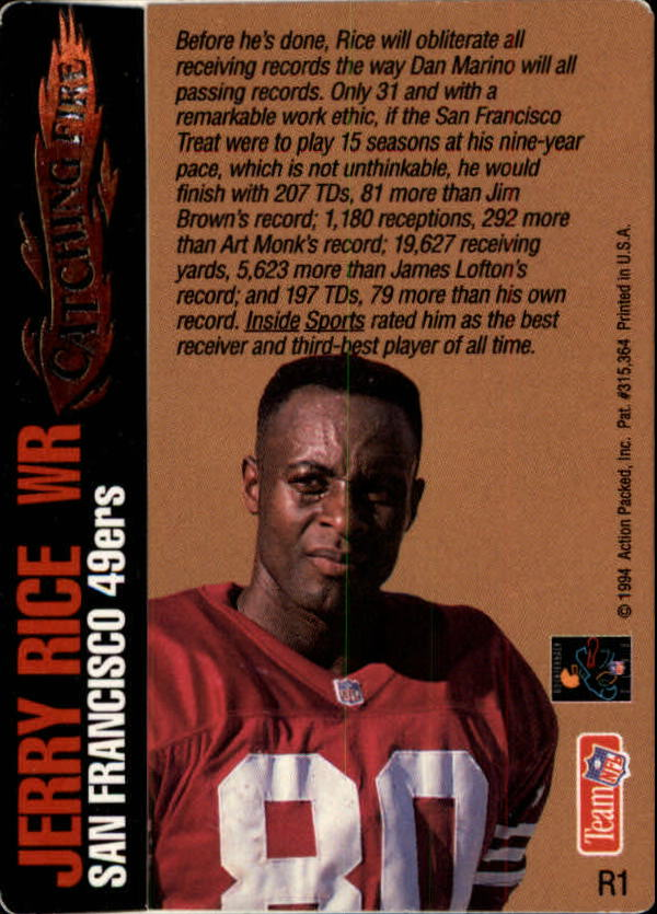 1994 Action Packed Catching Fire #R1 Jerry Rice back image