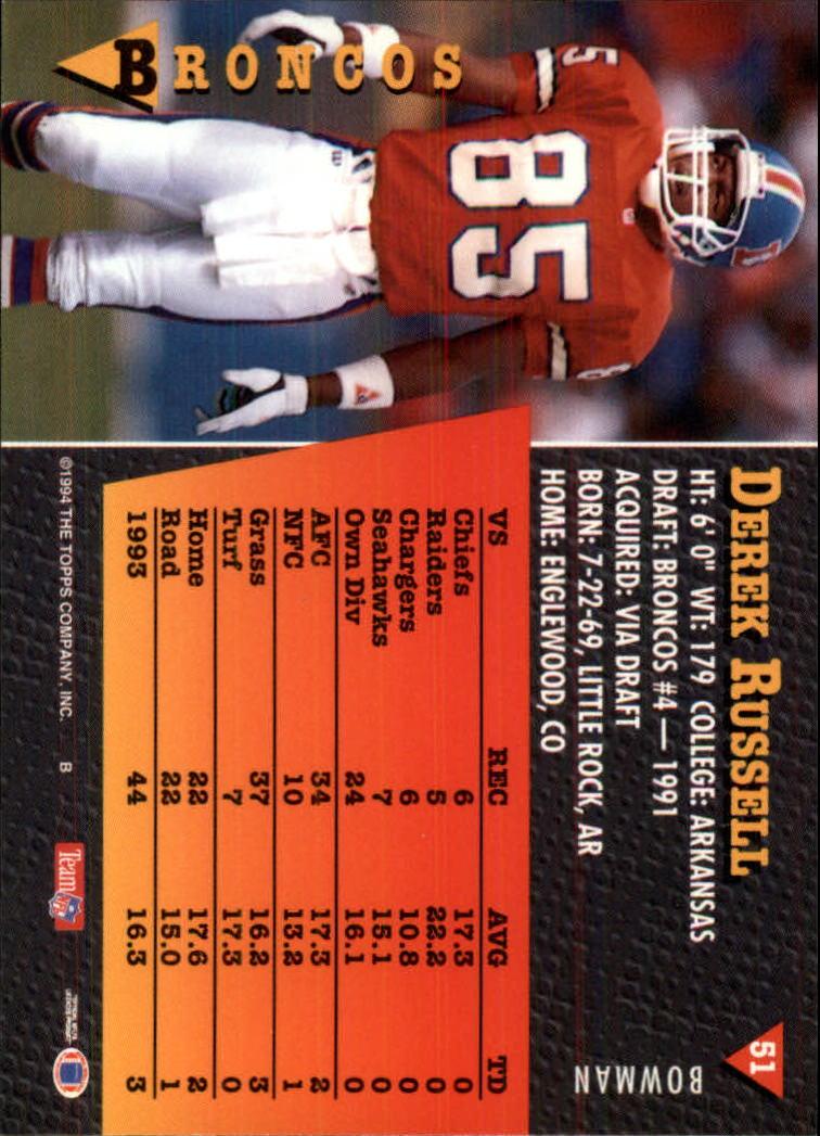 1994 Bowman #51 Derek Russell back image