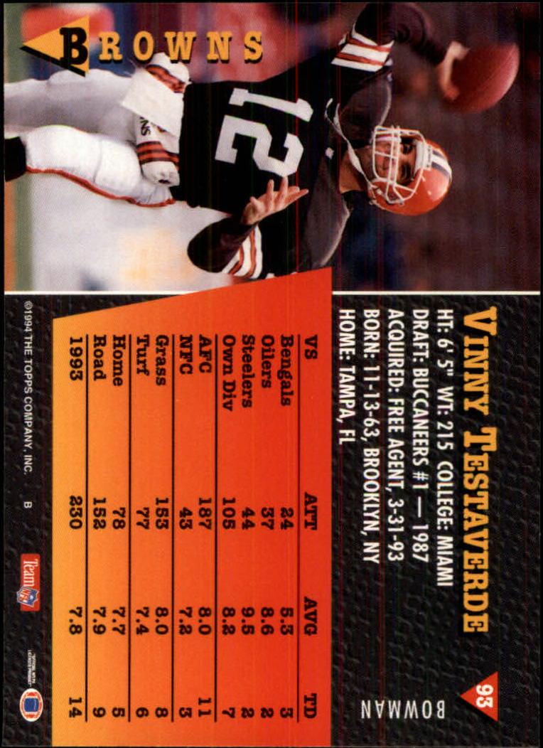 1994 Bowman #93 Vinny Testaverde back image