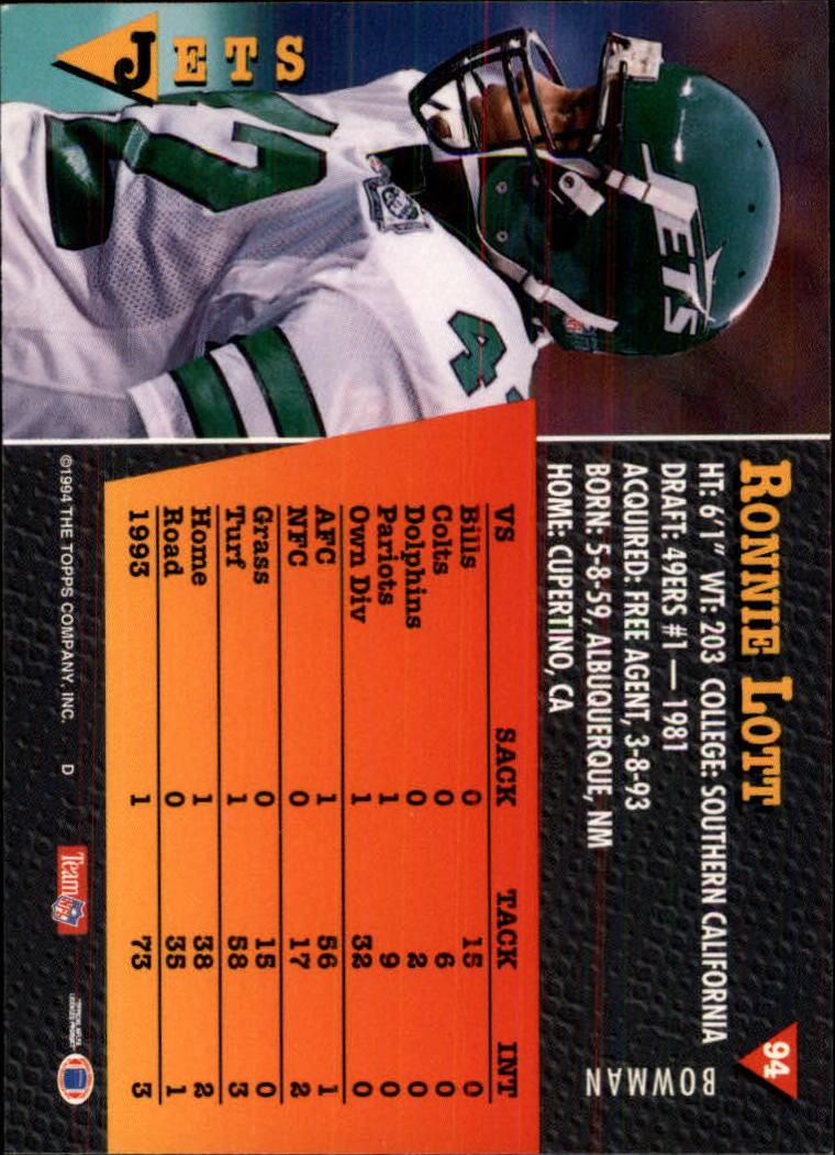 1994 Bowman #94 Ronnie Lott back image