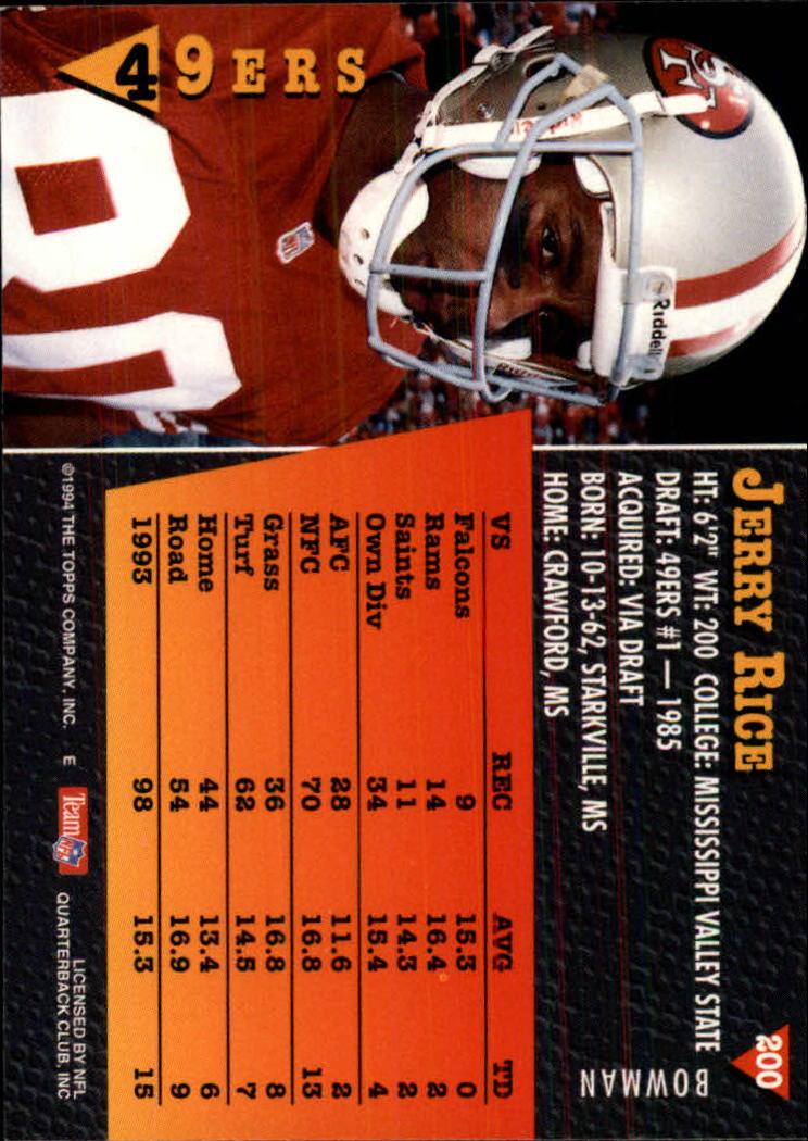 1994 Bowman #200 Jerry Rice back image