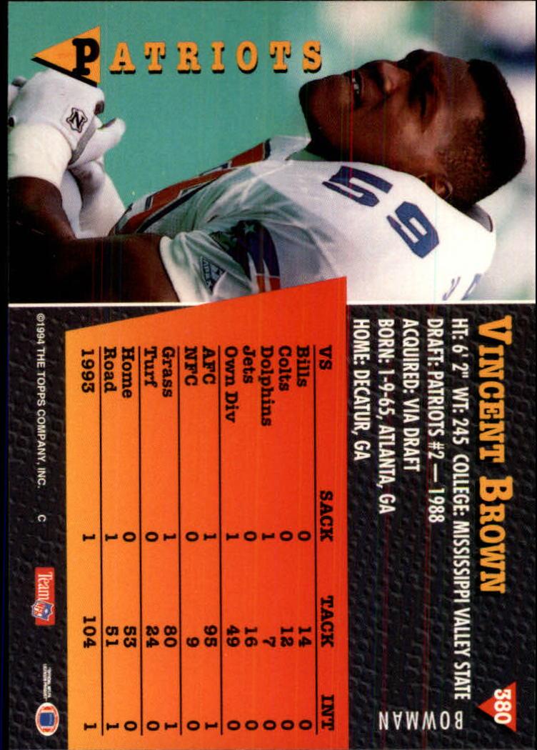 1994 Bowman #380 Vincent Brown back image