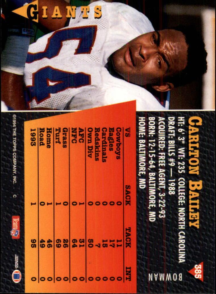 1994 Bowman #385 Carlton Bailey back image