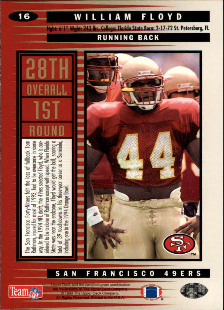 1994 Collector's Choice #16 William Floyd RC back image