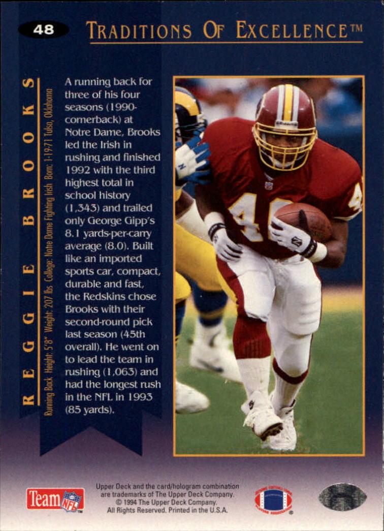 1994 Collector's Choice #48 Reggie Brooks TE back image