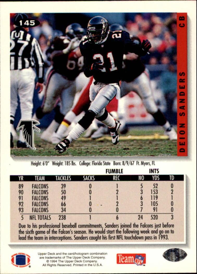 1994 Collector's Choice #145 Deion Sanders back image
