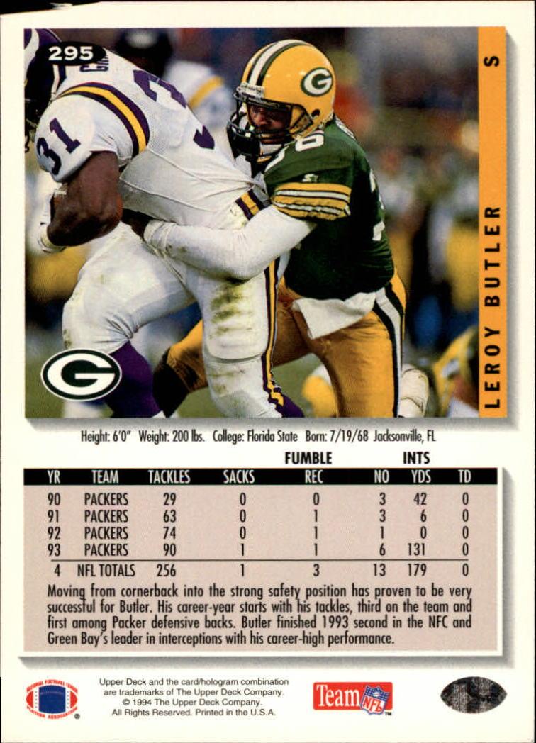 1994 Collector's Choice #295 LeRoy Butler back image