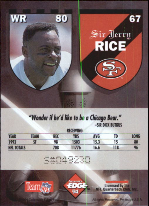 1994 Excalibur #67 Jerry Rice back image