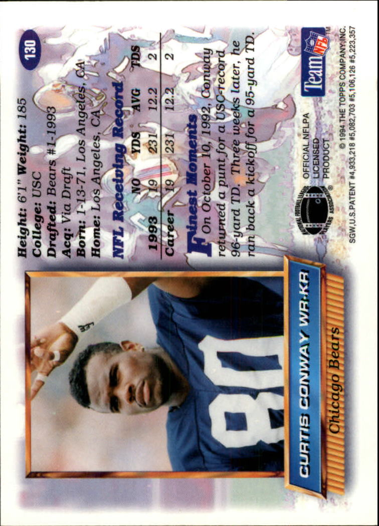 1994 Finest #130 Curtis Conway back image