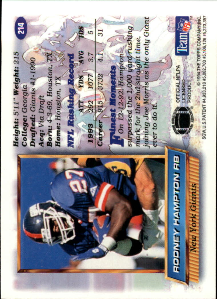 1994 Finest #214 Rodney Hampton back image