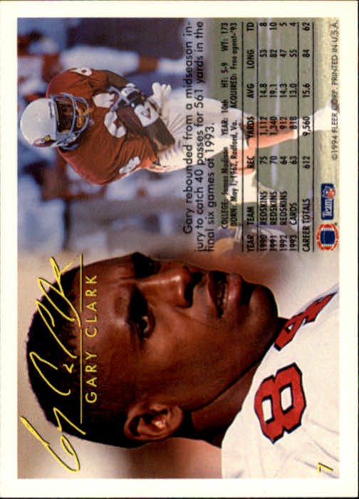 1994 Fleer #7 Gary Clark back image