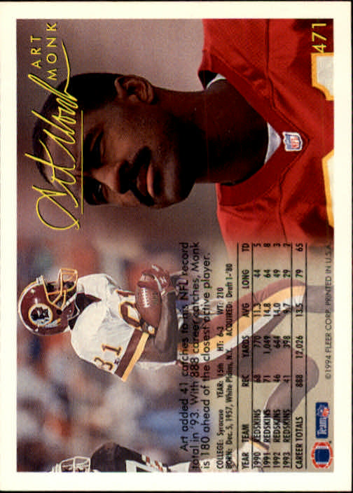 1994 Fleer #471 Art Monk back image