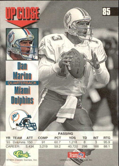 1994 Images #85 Dan Marino back image