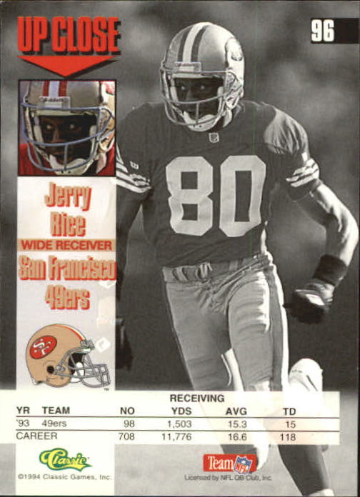 1994 Images #96 Jerry Rice back image