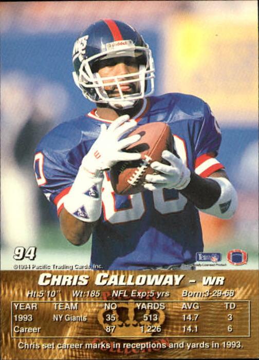 1994 Pacific #94 Chris Calloway back image
