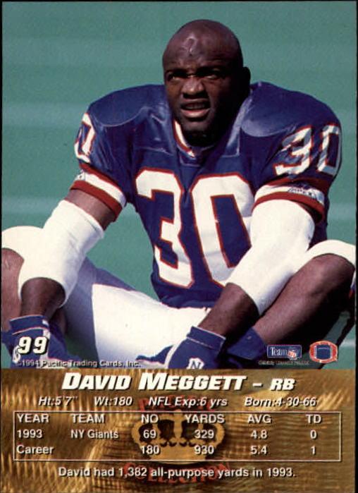 1994 Pacific #99 Dave Meggett back image