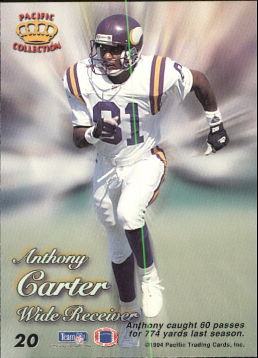 1994 Pacific Prisms #20 Anthony Carter back image
