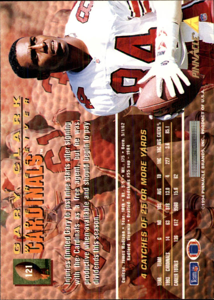 1994 Pinnacle #121 Gary Clark back image