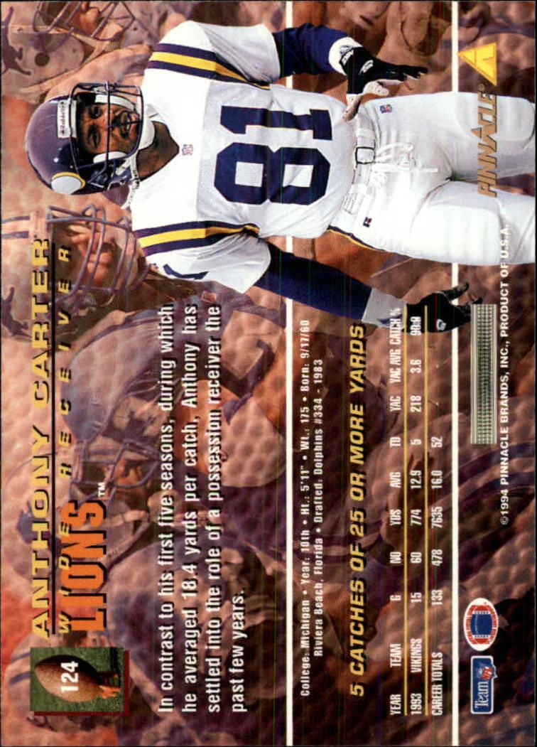 1994 Pinnacle #124 Anthony Carter back image