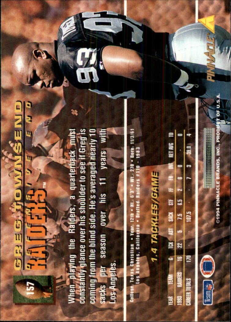 1994 Pinnacle #157 Greg Townsend back image