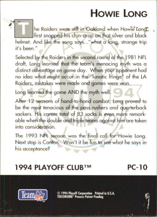 1994 Playoff Club #PC10 Howie Long back image