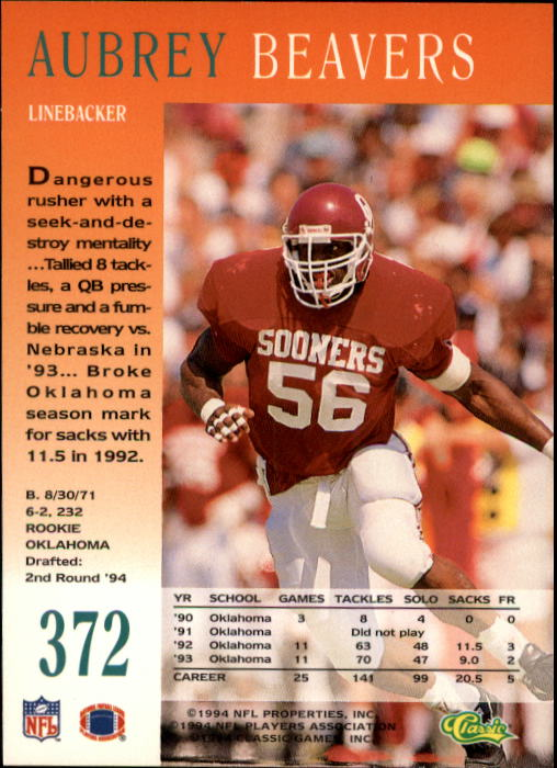 1994 Pro Line Live #372 Aubrey Beavers RC back image
