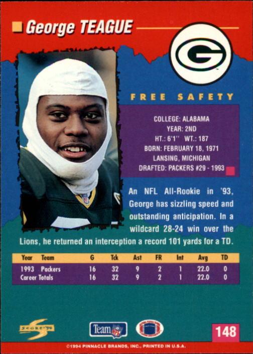 1994 Score #148 George Teague back image