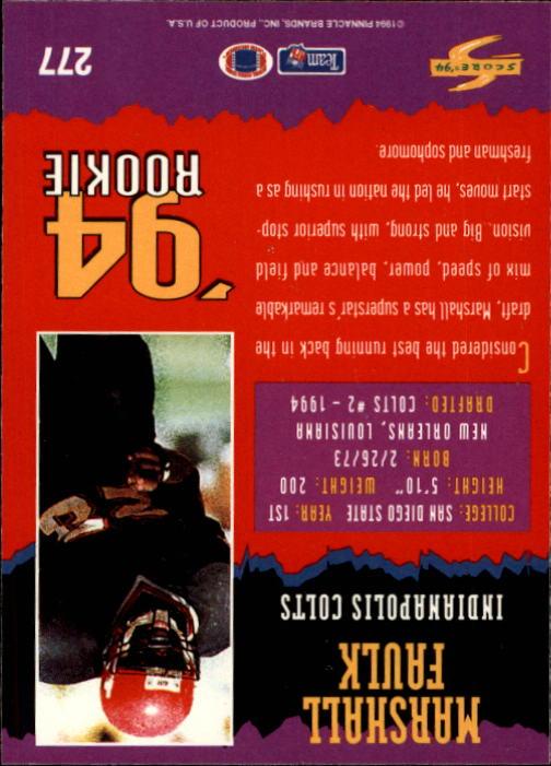 1994 Score #277 Marshall Faulk RC back image