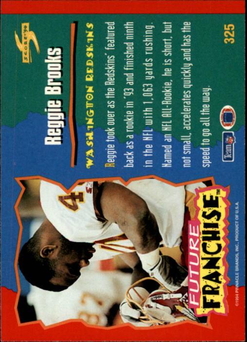 1994 Score #325 Reggie Brooks FF back image