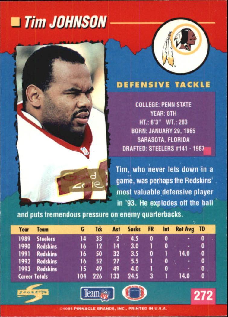1994 Score Gold Zone #272 Tim Johnson back image
