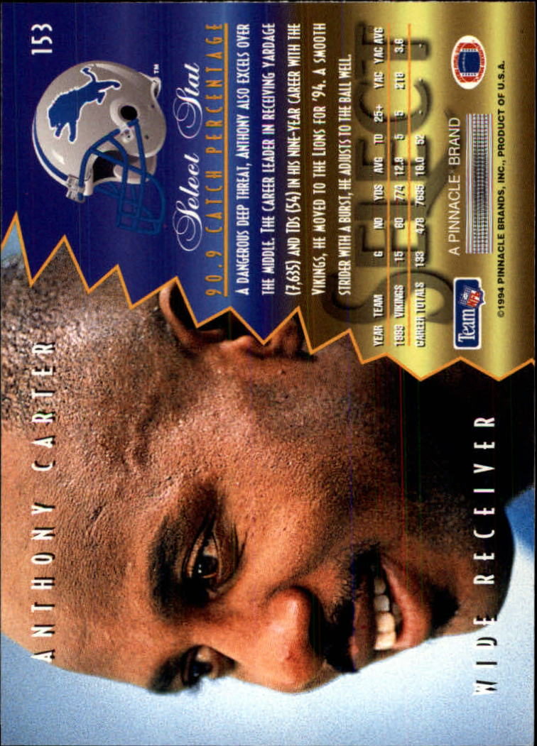 1994 Select #153 Anthony Carter back image