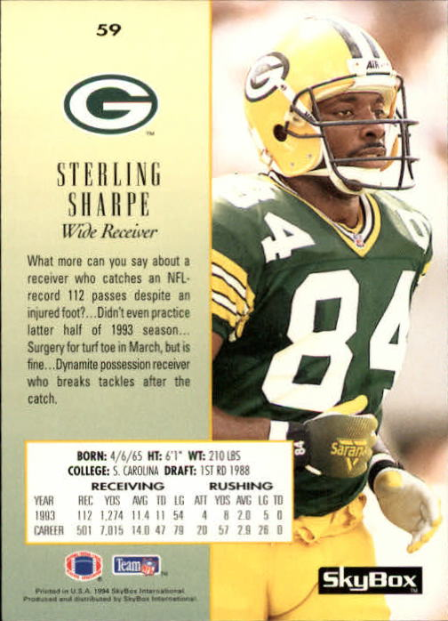 1994 SkyBox Premium #59 Sterling Sharpe back image