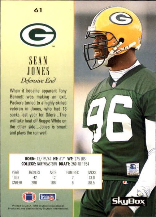 1994 SkyBox Premium #61 Sean Jones back image