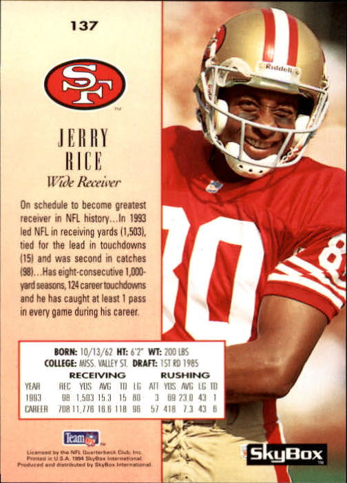 1994 SkyBox Premium #137 Jerry Rice back image