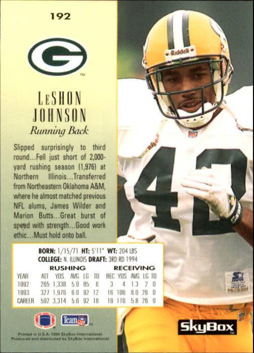 1994 SkyBox Premium #192 LeShon Johnson RC back image