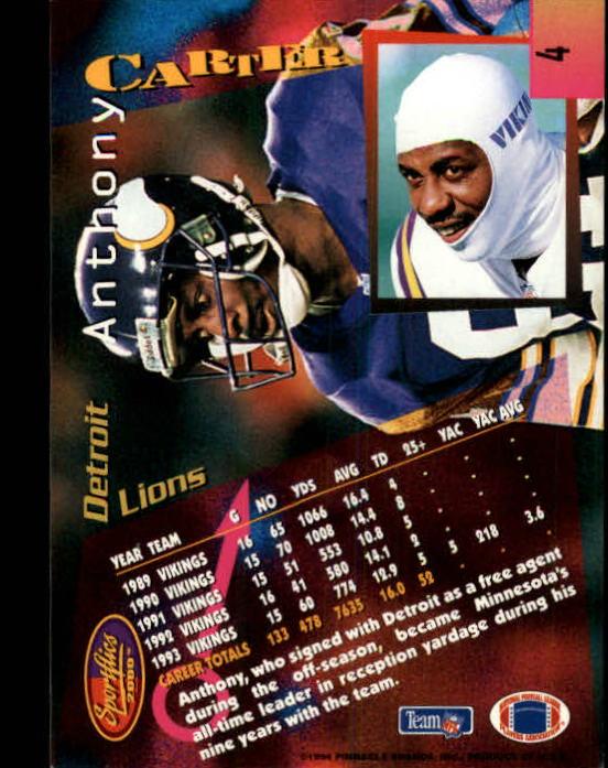 1994 Sportflics #4 Anthony Carter back image