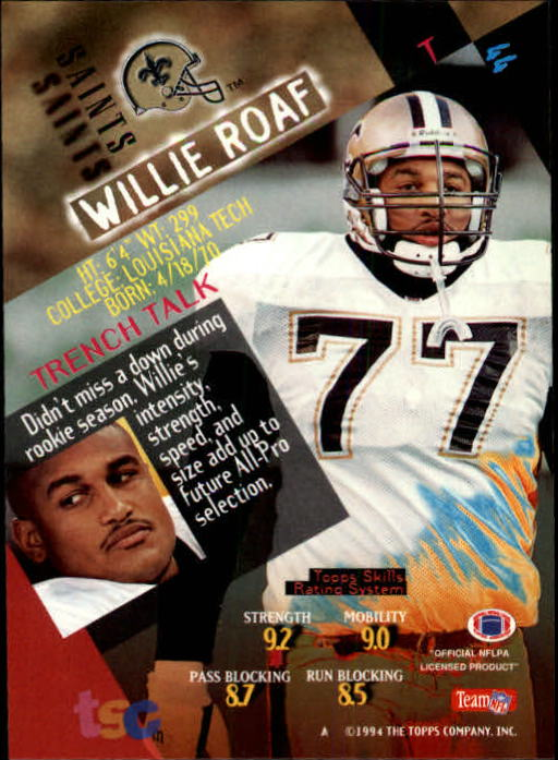 1994 Stadium Club #44 Willie Roaf back image