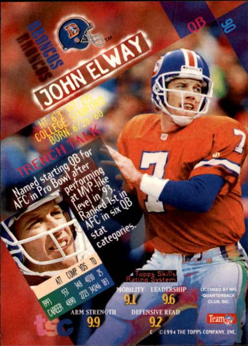 1994 Stadium Club #90 John Elway back image