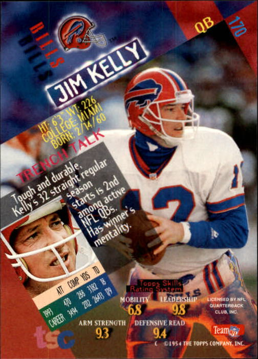 1994 Stadium Club #170 Jim Kelly back image