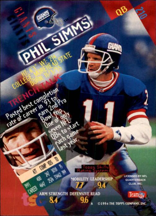 1994 Stadium Club #210 Phil Simms back image