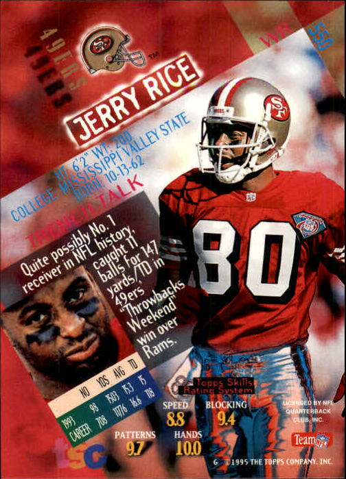 1994 Stadium Club #550 Jerry Rice back image