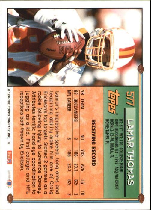 1994 Topps #577 Lamar Thomas back image